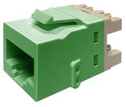 Гнездо KJ10G jack, Cat.6A, раскладка пар: T568A/T568B, solid: 22AWG-24AWG, stranded: 24AWG-26AWG, диаметр кабеля мм: 7,24, цвет: зелёный