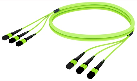 Претерминированный кабель 36 волокон LazrSPEED® WideBand OM5 3xMPO12(f)/3xMPO12(f), изоляция: LSZH, EuroClass B2ca, t=-10-+60 град., цвет: lime