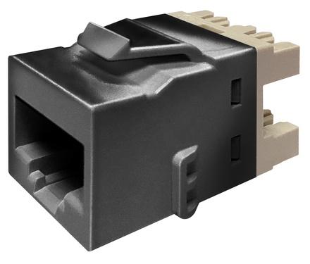 Гнездо KJ10G jack, Cat.6A, раскладка пар: T568A/T568B, solid: 22AWG-24AWG, stranded: 24AWG-26AWG, диаметр кабеля мм: 7,24, цвет: чёрный, эко уп.: 24
