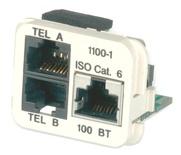 Адаптерная вставка AMP CO™ Plus 3xRJ45 Cat.6 (две телефонные линии + Fast Ethernet), Цвет: миндальный (RAL 9013)