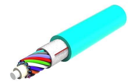Малогабаритный внутренний оптический кабель, волокон: 48, Тип волокна: OM4 LazrSPEED® 550, конструкция: центральный силовой элемент, волокна в 250mk буфере в микротрубках 4х12, слой кевлара, изоляция: LSZH, EuroClass: Сca, диаметр: 6,6 мм, -10 - +60 град., цвет: бирюзовый