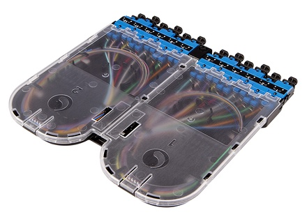 Кассета EHD ULL 12хLC Duplex с пигтейлами, OS2 G.657.A2, гильзы: 24хFST-ACC005, цвет: синий
