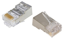MP-88S-R-5: Экранированная модульная вилка RJ45 8-поз./8-конт. Cat.5; для круглого кабеля D:4,83-5,08 d:0,86-0,99 AWG:26-24; уп.: 500шт.
