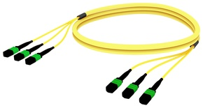 Претерминированный кабель MPOptimate® ULL 36 волокон OS2 G.657.A2 3хMPO12(m)/3хMPO12(m), APC, UltraLowLoss, изоляция: LSZH, Полярность: метод А, t=-10-+60 град., цвет: жёлтый, Длина м.: 3