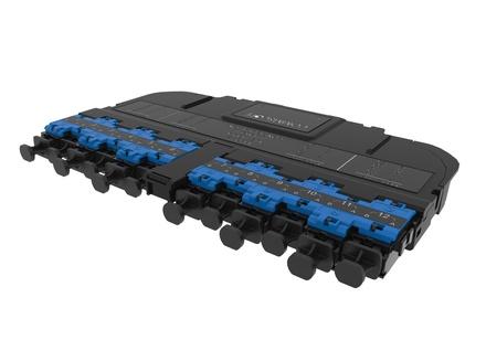 Модуль EHD ULL 12LC Duplex/2xMPO12(m) OS2 TeraSPEED® Method A Pairs straight, выравнивающие штырьки: да, пылезащитные заглушки: да, цвет: синий
