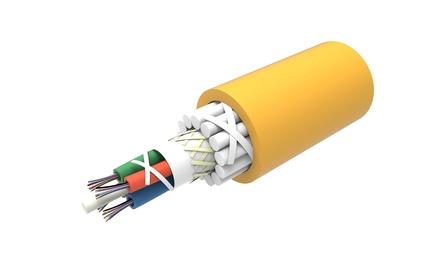 Универсальный оптический кабель, кол-во волокон: 48, Тип волокна: OS2 в буфере 250 микрон, Конструкция: волокна в трубке с гелем, бронирование GRP, Изоляция: ULSZH, Диаметр: 15 мм, -25-+70 град., цвет: жёлтый, 2 км