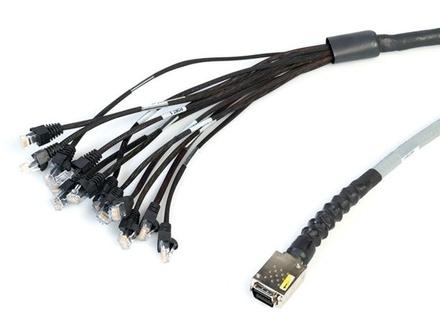 Экранированная претерминированная разветвительная кабельная сборка 1хMRJ21™/6хRJ45, 180 град., изоляция: CMR, изоляция: CMR, 1G, длина м: 3