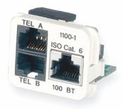 Адаптерная вставка AMP CO™ Plus 3xRJ45 Cat.6 (две телефонные линии + Fast Ethernet), цвет: белый (RAL 9010)