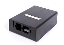 Настенная розеточная коробка M202 под гнездо М-серии, кол-во портов: 2, цвет: чёрный