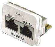 Адаптерная вставка AMP CO™ Plus 2xRJ45 (2хFastEthernet) Cat.6a, цвет: миндальный (RAL 9013)