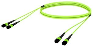 Претерминированный кабель LazrSPEED® WideBand OM5 2xMPO12(f)/2xMPO12(m), изоляция: LSZH, EuroClass B2ca, t=-10-+60 град., цвет: lime, Длина м.: 5