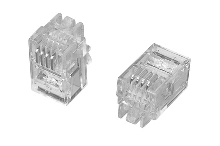 MP-44U-F-1 Модульная вилка RJ11 4-поз./4-конт. Cat.3; для плоского овального кабеля D:2,29-4,83 d: 0,86-0,99 AWG: 26-24; уп.: 100