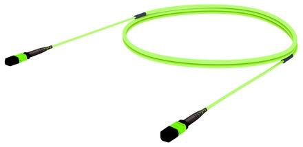 Претерминированный кабель 12 волокон LazrSPEED® WideBand OM5 MPO12(f)/MPO12(f), изоляция: LSZH, EuroClass B2ca, t=-10-+60 град., цвет: lime