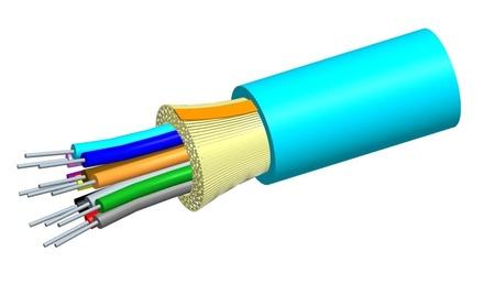 Универсальный оптический кабель, Кол-во волокон: 6, Тип волокна: OM4, Конструкция: ODC, Изоляция: ULSZH, EuroClass: Cca, диаметр: 6,4 мм, -20-+60 град., цвет: бирюзовый