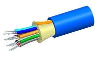 Внутренний оптический кабель, кол-во волокон: 6, Тип волокна: OM3 LazrSPEED® 300 буфер 900мк, Конструкция: ODC, Изоляция: LSZH, EuroClass: Dca, Диаметр: 5,07 мм, -20 - +70 град., Цвет: синий