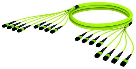 Претерминированный кабель 96 волокон LazrSPEED® WideBand OM5 8xMPO12(f)/8xMPO12(f), изоляция: LSZH, EuroClass B2ca, t=-10-+60 град., цвет: lime