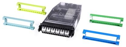 Кассета G2 12хLC Duplex с держателем сплайсов, без пигтейлов, цвет: бирюзовый/blue/green/lime