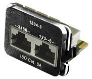 Адаптерная вставка AMP CO™ Plus 2xRJ45 (1хFastEthernet / 1хISDN) Cat6a, цвет: чёрный (RAL 9005)