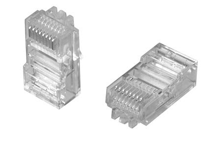 MP-88U-F-1: Модульная вилка RJ45 8-поз./8-конт. Cat.5; для плоского овального кабеля D=2,54-8,89, d=0,86-0,99, AWG:26-24; уп.: 100шт.