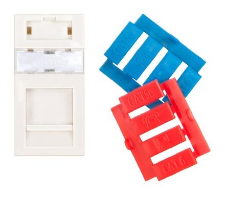 Лицевая панель 22,5x45, для 1 гнезда SL или AMPTwist, со шторкой, цвет: белый