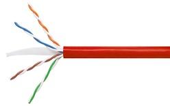Кабель 4-парный U/UTP Cat.6, 24 AWG, оболочка: LSZH, EuroClass Dca, диаметр: 5,72, NVP 71%, -20-+60 грд, цвет: красный, уп.: коробка 305 м
