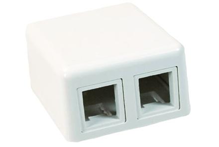Розеточная коробка Modular Jack Boxes для любых SL гнёзд 2-портовая, цвет: альп.бeлый