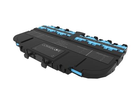 Модуль EHD ULL 12LC Duplex/2xMPO12(m), OM4 LazrSPEED® 550 Method A Pairs straight, выравнивающие штырьки: да, пылезащитные заглушки: да, цвет: бирюзовый
