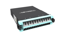 Модуль G2 MPOptimate® OM4 LazrSPEED® 550 12xLC Duplex - 1xMPO24(m) Method A Pair Straight, шторки: есть, цвет: бирюзовый