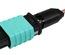 Разъём LazrSPEED®  WideBand QWIK-FUSE MPO12 со штырьками для полевой установки на  ленточное волокно, fusion splice, OM3, OM4, OM5, цвет: бирюзовый
