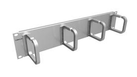 Горизонтальный органайзер 2RU с 4 кольцами; цвет: серебряный