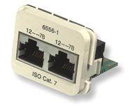Двойная адаптерная вставка AMP CO™ Plus Cat.7 для двухпарных приложений (ATM), Тип вставки: 2xRJ45 Cat.7, Цвет: миндальный (RAL 9013)