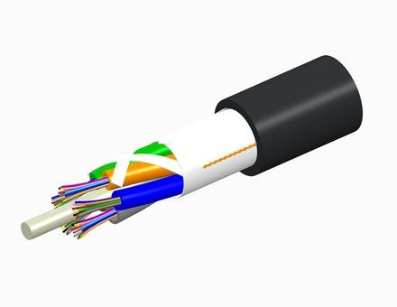 Внешний оптический кабель, волокон: 4, Тип волокна: ОМ3 LazrSPEED® 300, конструкция: до 12 волокон в трубках вокруг центрального силового элемента, изоляция: MDPE UV stabilized, диаметр: 10,2 мм, -40 - +70 град., цвет: чёрный