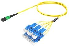 Разветвительный кабель (гидра) MPOptimate® OS2 G.657.A2 MPO12(f) APC/6xLC Duplex, UltraLowLoss, изоляция: LSZH, Полярность: метод А, t=-10-+60 град., цвет: жёлтый, Длина м.: 3