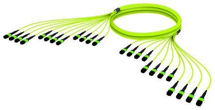 Претерминированный кабель 144 волокона LazrSPEED® WideBand OM5 12xMPO12(f)/12xMPO12(m), изоляция: LSZH, EuroClass B2ca, t=-10-+60 град., цвет: lime