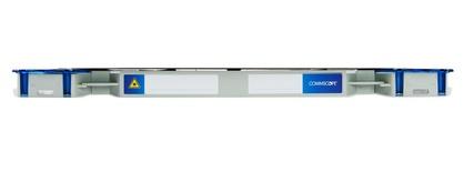 Шасси FACT™ Splice-Patch 48xLC/APC SM и C-grade пигтейлы, поддон для гильз SMOUV, организация кабеля: right-hand patch, длина кабеля м.: 30; тип кабеля: 48 волокон универсальный Microsheath cable, G657A1, чёрный, EN50575 CPR, EuroClass Dca; цвет: серый, высота: 1E=0.7RU