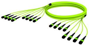 Претерминированный кабель 96 волокон LazrSPEED® WideBand OM5 8xMPO12(f)/8xMPO12(m), изоляция: LSZH, EuroClass B2ca, t=-10-+60 град., цвет: lime