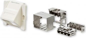 Розетка AMP CO™ Ultra для напольного бокса DIN 70x58 мм, цвет: миндальный (RAL 9013)