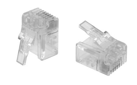 MP-66U-F-5: Модульная вилка RJ12 6-поз./6-конт. Cat.3; для овального кабеля D=2,29-6,61, d=0,86-0,99, AWG:26-24; уп.: 500шт.