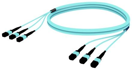 Претерминированный кабель MPOptimate® ULL 36 волокон OM4 3хMPO12(m)/3хMPO12(m), UltraLowLoss, изоляция: Plenum, Полярность: метод А, t=-10-+60 град., цвет: бирюзовый, Длина м.: 15