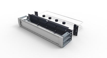 Коммутационная панель Systimax 2RU до 8xG2 модулей с фронтальным органайзером и 2 тыловыми кабельными поддержками