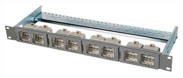 Коммутационная панель AMP CO Ultra формата Quick-Fit 8 портов, Высота: 1RU, Цвет: светло-серый (RAL 7035)