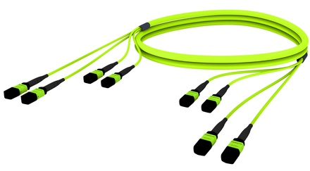Претерминированный кабель 48 волокон LazrSPEED® WideBand OM5 4xMPO12(f)/4xMPO12(m), изоляция: LSZH, EuroClass B2ca, t=-10-+60 град., цвет: lime