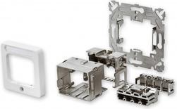 Установочный комплект AMP CO™ Ultra 50x50 мм, прямой, Ввод кабеля: сверху, слева или справа, Цвет: белый (RAL 9010)