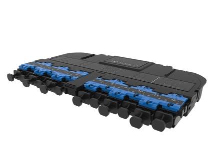 Модуль EHD ULL 12LC Duplex/2xMPO12(m) OS2 TeraSPEED® Method A Pairs flipped, выравнивающие штырьки: да, пылезащитные заглушки: да, цвет: синий