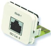 Адаптерная вставка AMP CO™ Plus 1xRJ45, Cat.6, приложение: телефонная, цвет:белый (RAL 9010)