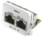 Адаптерная вставка AMP CO™ Plus 2xRJ45 (1хFastEthernet / 1хISDN) Cat6a, цвет: белый (RAL 9010)
