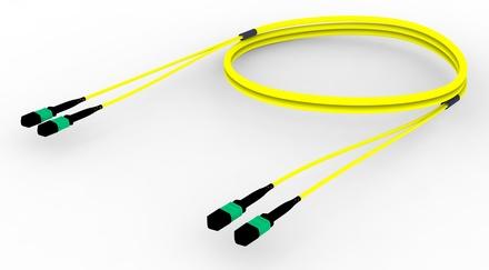 Претерминированный кабель 24 волокна G.652.D and G.657.A1 , OS2 TeraSPEED® 2xMPO12(f)/2xMPO12(m), изоляция: LSZH, EuroClass B2ca, t=-10-+60 град., цвет: жёлтый