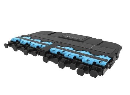 Модуль EHD ULL 12LC Duplex/2xMPO12(m), OM4 LazrSPEED® 550 Method A Pairs flipped, выравнивающие штырьки: да, пылезащитные заглушки: да, цвет: бирюзовый