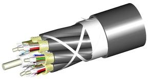 Универсальный распределительный оптический кабель, волокон: 36, Тип волокна: ОМ4 LazrSPEED® 550, конструкция: 3 кабеля по 12 волокон с центральным силовым элементом и кевларом, диэлектрический центральный силовой элемент, изоляция: внешняя - LSZH UV stabilized Riser, кабеля - LSZH, EuroClass: Cca, диаметр: 17,1 мм, -40 - +70 град., цвет: чёрный