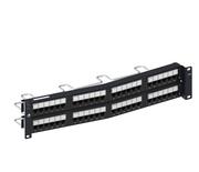 Угловая коммутационная панель recessed 48хRJ45 Cat.6, тип кабеля:22/24AWG solid/stranded U/UTP, с кабельной поддержкой, высота: 2RU цвет: чёрный